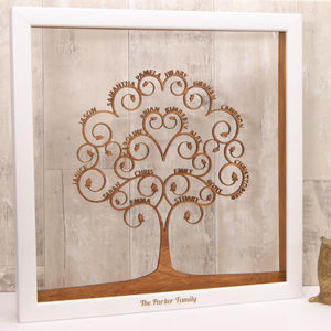 Personalised Wooden Spiral Family Tree Wall Art