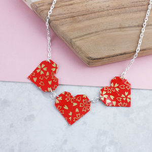 Origami Red Hearts Necklace - necklaces & pendants