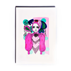 Neon Line Lady Limited Edition Screen Print