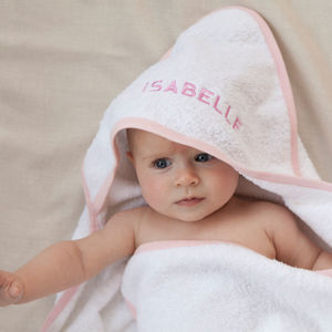 Personalised Baby Hooded Towel Edged In Pale Pink - baby care