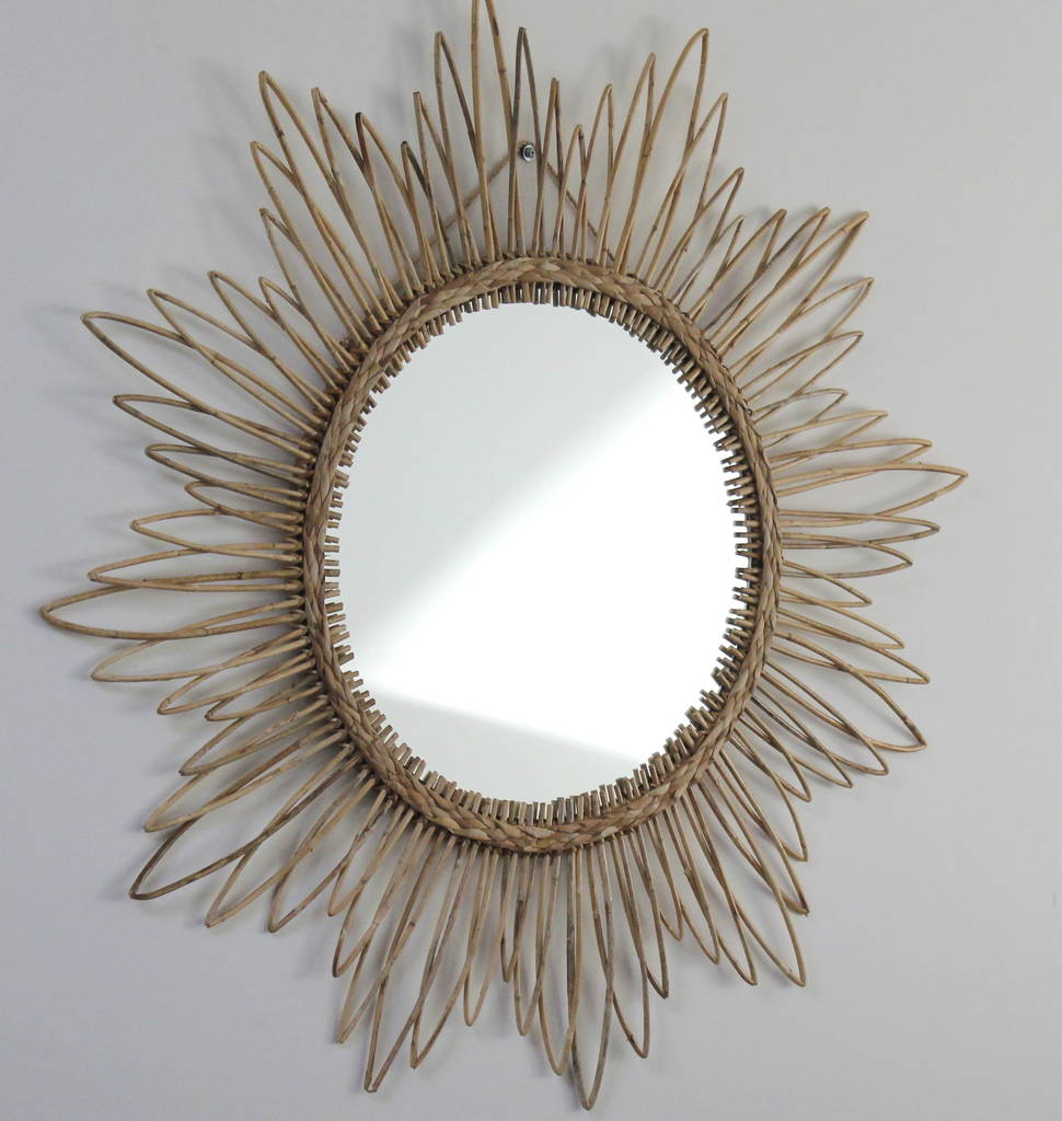 Large Sunburst Rattan Mirror by The Forest &Amp; Co