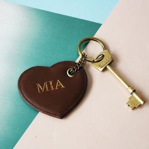 Personalised Leather Heart Keyring - for her