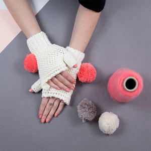 Cream Super Pom Fingerless Gloves - womens