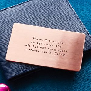 Personalised Metal Wallet Insert Card - gifts for him sale