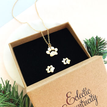 Personalised Pet Paw Print Necklace And Earrings Set