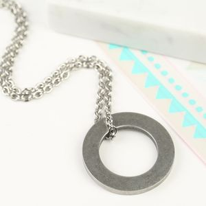 Men's Stainless Steel Circle Necklace - necklaces