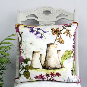 Silk Flowers And Cooling Towers Print Cushion