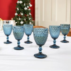 Set Of Six Midnight Blue Wine Goblets
