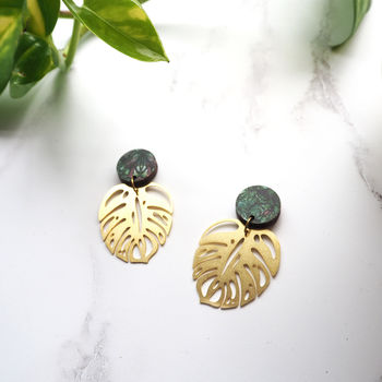 Gold Monstera Drop Earrings