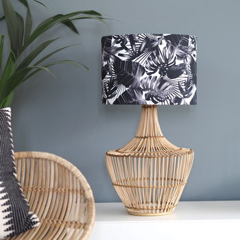 Black And White Tropical Plant Drum Lampshade