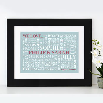 black frame - duck egg blue print