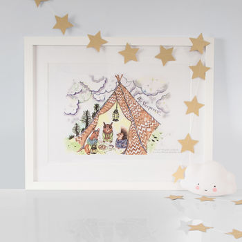 Woodland Animal Sleepover Print