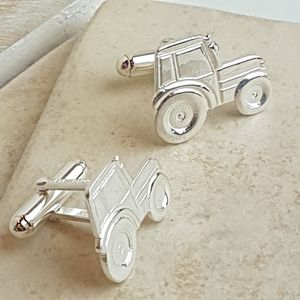 Silver Tractor Cufflinks - new in fashion