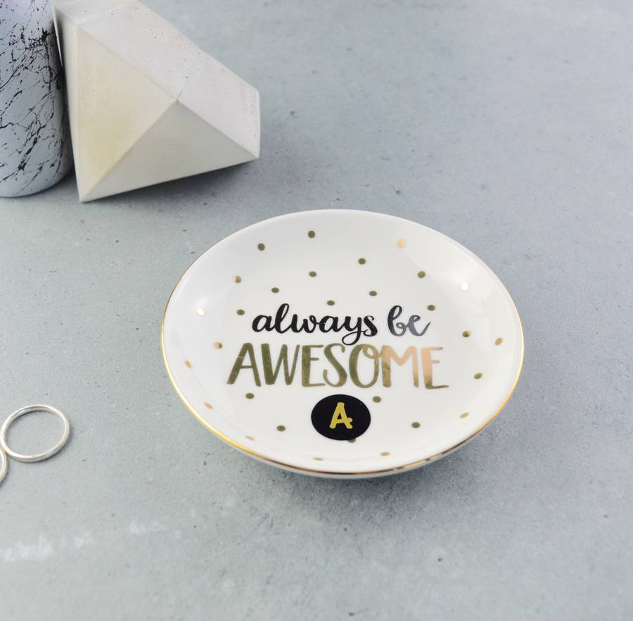 Personalised Always Be Awesome Gold Jewellery Dish
