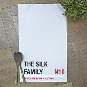 Personalised Street Sign Tea Towel - gifts for families