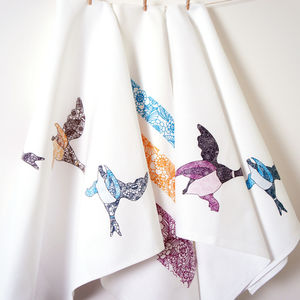 Set Of Three Flying Ducks Tea Towels