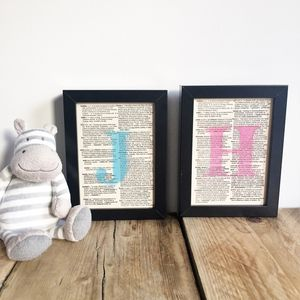 'Welcome To The World' Baby Initial Typography Print - picture frames for children
