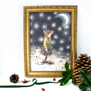 Seasonal Print Of A Red Fox With A Jack Russell Dog - whatsnew