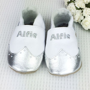 Personalised Metallic Christening Brogues Baby Shoes