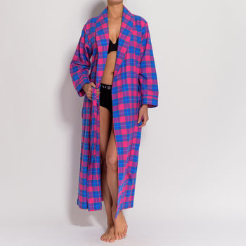 Women's Pink Tartan Two Fold Flannel Robe