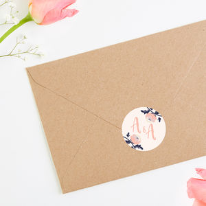 Blush And Navy Floral Stickers In Blush
