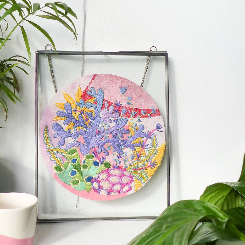 Pink Coral Reef Embroidered Textile Artwork Silver