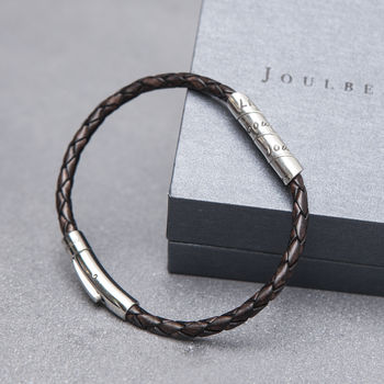 Distressed Mocha Slim Open Scroll Mens Bracelet
