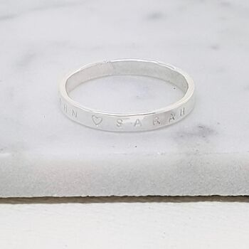 Personalised Hammered Sterling Silver Ring