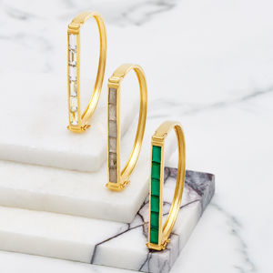 Geometric Gold Bangle Gemstones - precious gemstones