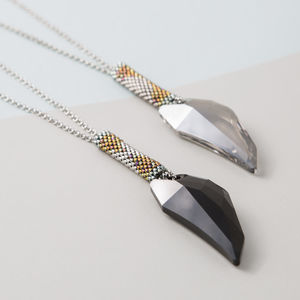 Handmade Dog Tooth Swarovski Crystal Pendant Necklace - necklaces & pendants
