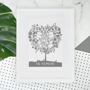 Personalised Family Heart Tree Print - children's pictures & paintings