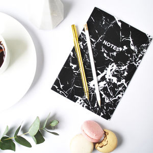 A5 Black Marbled Notebook With Lined Pages