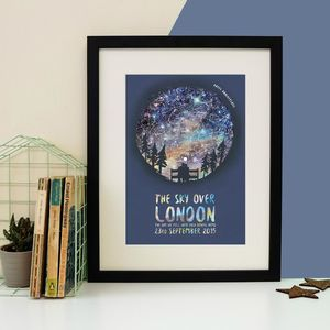 Personalised Couple Star Map Print - 1st anniversary: paper