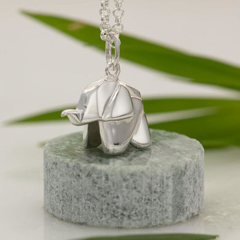 Origami Elephant Necklace With Personalised Message