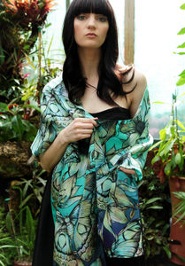 Atlas Moth Long Floral Silk Scarf In Opal