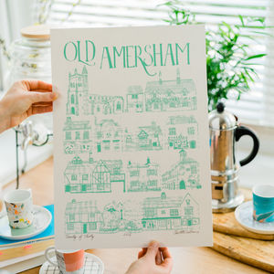 Old Amersham Screen Print - posters & prints