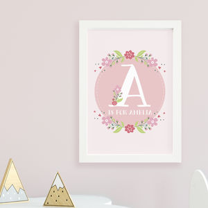 Personalised Pink Letter Print - nursery pictures & prints