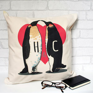 Personalised Penguin Lovers Cotton Cushion Cover