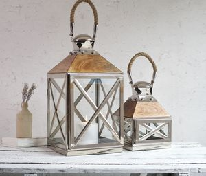 Reclaimed Wood And Stainless Steel Candle Lantern - home accessories
