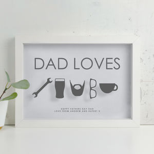 Personalised 'Dad Loves' Fathers Day Icon Papercut - personalised