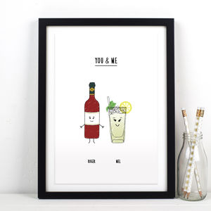 'You And Me' Personalised Drinks Print