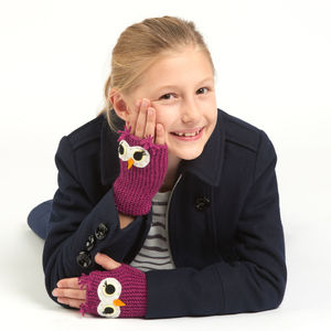Owl Hand Warmers 'Learn To Knit' Kit