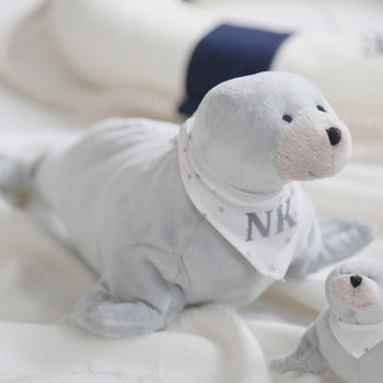 Monogrammed Grey Seal Soft Toy