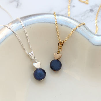 single freshwater blue pearl pendant with heart in gold or silver