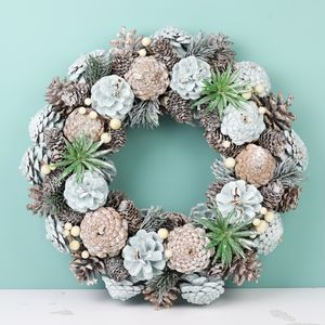 Frosted Glitter Pinecone Wreath - wreaths