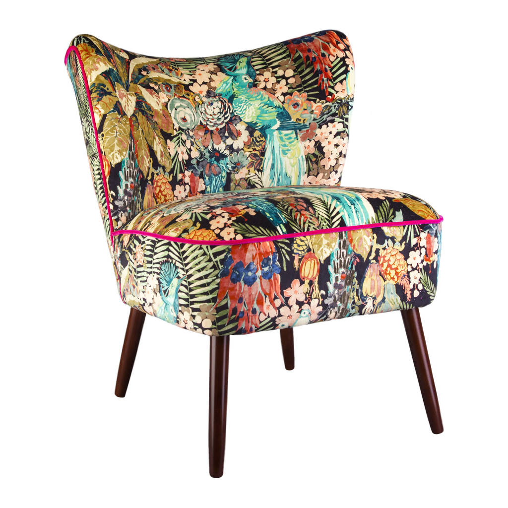 Bartholomew Cocktail Chair In Rainforest Rabble Velvet