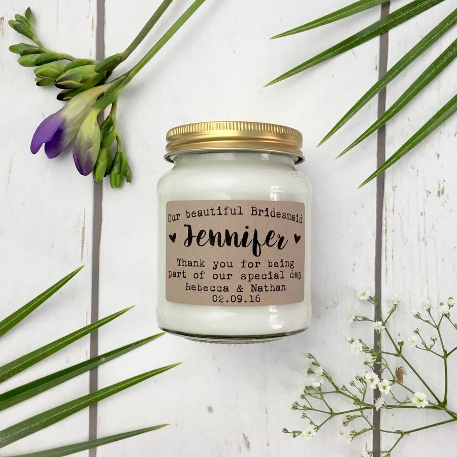 Lollyrocket Candle Co Personalised 'Our Beautiful Bridesmaid' Soy Candle