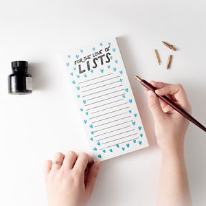 'For The Love Of Lists' Letterpress List Pad