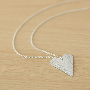 Matt Silver Hammered Aluminium Heart Pendant - necklaces & pendants