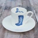'Wellingtons' Espresso Cup And Saucer